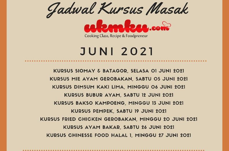Jadwal kursus masak UKMKU bulan Juni 2021